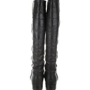 Chanel black Leather CC logo knee boots 39 size 8